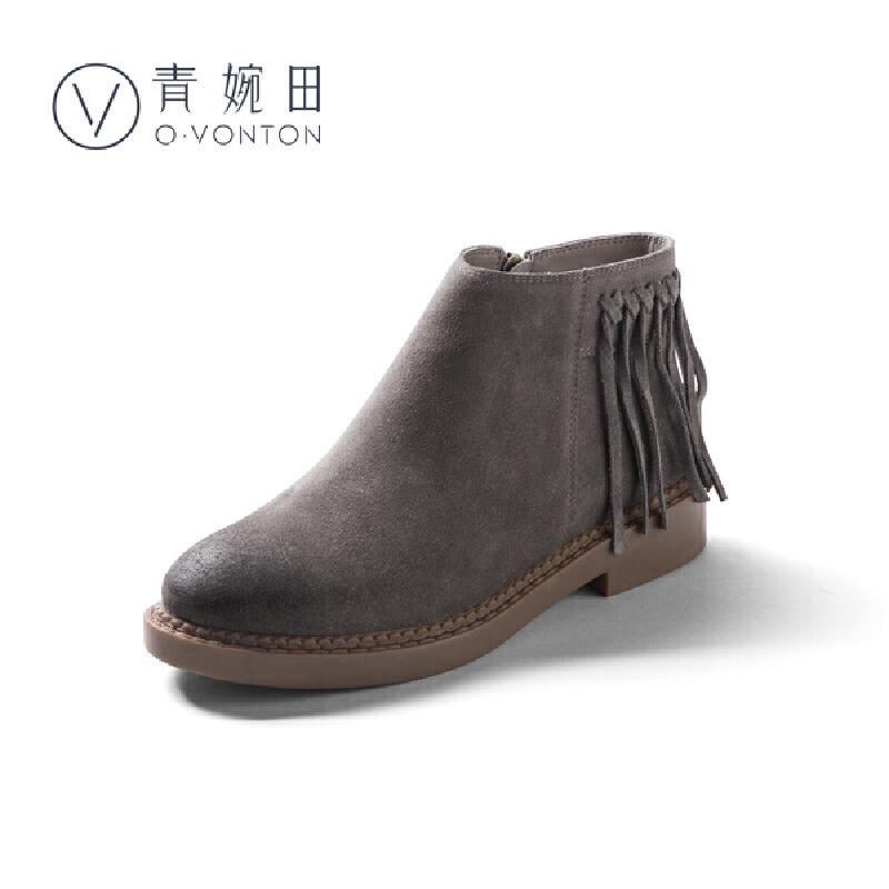 青婉田2018新款复古女靴子真皮春季短靴女平跟休闲英伦风流苏潮靴尺码正常,脚感舒适,反绒牛皮