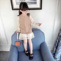 女童春装套装2018新款韩版儿童长袖连衣裙针织马甲洋气时尚两件套5961 杏色
