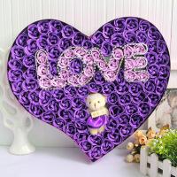 adfenna创意金箔玫瑰花生日礼物女生送女友闺蜜 100朵LOVE+小熊 紫色