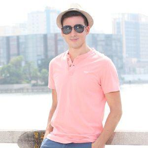 古星夏季新款圆领纽扣休闲修身版纯棉舒适冰感绅士短袖T恤男士潮