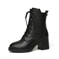 短靴女真皮2018冬秋单靴女高跟个性车机马丁靴粗跟女靴子潮软底