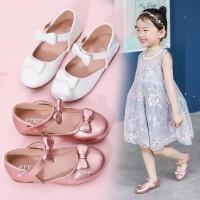 女童皮鞋 2019春季新款黑色蝴蝶结软底演出儿童公主鞋平底小单鞋时尚中空平底鞋