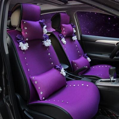夏季新款汽车座垫四季紫色花朵座垫车载车用坐垫透气车垫女士