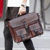韩版新款男士手包 潮流撞色复古男手提包 休闲街头邮差包单肩包