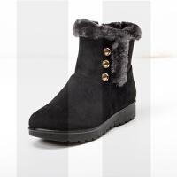 ����鞋女冬季加�q保暖�底防滑女鞋舒�m中年女士短靴子中老年棉鞋SN5157