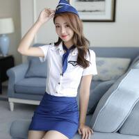 空姐制服诱惑情趣内衣女装连体空姐制服包臀性感诱惑短裙套装 均码(建议80-120斤)