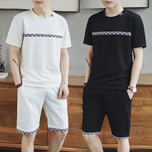 运动套装男士夏季青年跑步休闲短袖T恤两件套韩版学生潮DS82