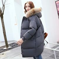 棉衣女中长款新款韩版加厚棉袄原宿bf宽松冬季外套学生面包服 S 105斤以内