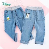 迪士尼Disney童装 男童百搭牛仔裤米奇印花裤子迪斯尼宝宝简约长裤年春季新品