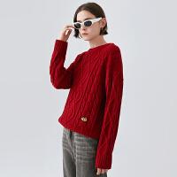 【2件3折 叠券预估价:94.1元】初语麻花毛衣女古着日系外穿红色慵懒风新款早秋洋气针织上衣长袖