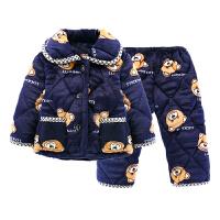 儿童睡衣冬珊瑚绒3-5周岁夹棉加厚套装宝宝男女孩7-9周岁家居服厚