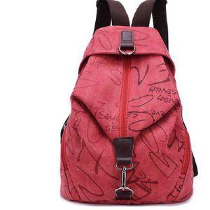 新款纯色复古帆布双肩包男女学生书包旅行包