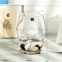 现代简约水立方台面花瓶客厅书房花瓶摆件餐桌立体菱形水培花瓶