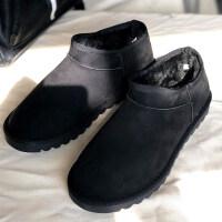 2018新款冬季短筒雪地靴男低帮加绒面加厚平底防滑保暖棉鞋面包鞋