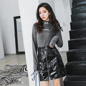七格格长袖t恤女嘻哈bf潮修身秋装2018新款女生酷酷的衣服chic港味上衣