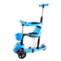 宝宝滑板车2岁儿童五合一可坐可推加宽三轮闪光幼儿3岁滑滑车礼物