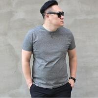 新款彩棉潮胖特大号男装加肥加大码圆领男士短袖T恤