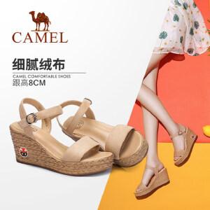 骆驼女鞋2018夏季新款高跟鱼嘴凉鞋防水台时尚坡跟厚底百搭凉鞋女