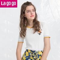 【618大促-每满100减50】Lagogo/拉谷谷2018年夏季新款时尚圆领贴布绣针织衫HAMM213C21