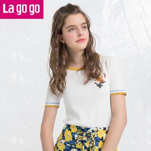 Lagogo/拉谷谷2018年夏季新款时尚圆领贴布绣针织衫HAMM213C21