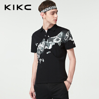 kikcPOLO衫2018夏季新款青少年修身涂鸦印花翻领短袖T恤上衣男士