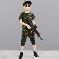 六一儿童迷彩服演出服套装男女童幼儿园夏令营军装军训服短袖夏装 迷彩服 不含帽子