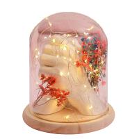 石膏粉克隆粉 情侣手模型手模手脚印模粉模型粉 暖灯玻璃罩珍珠漆套餐+干花配件 顺丰