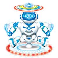 新款儿童玩具灯光音乐跳舞机器人 360旋转电动太空机器人模型 颜色随机