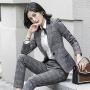 【限时抢购】2019春秋新款职业装女士长袖格纹套装商务正装修身面试工作服