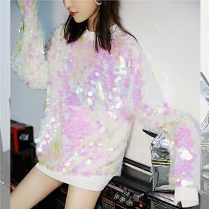 七格格卫衣2018新款女秋季韩版宽松亮片潮套头中长款时尚长袖上衣