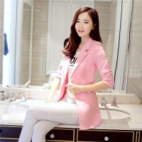 小西装女外套中长款2018春秋外套女修身韩版大码长袖女士西服 粉红色 1618