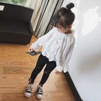 女童白衬衫春款儿童白色上衣女宝宝长袖衬衣花边灯笼袖