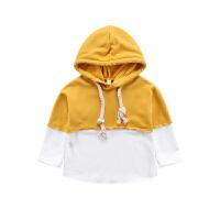 女童卫衣拼接春装2018新款韩版儿童女宝宝长袖运动服帽衫时尚上衣0562 黄色