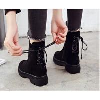 香港潮牌新款女鞋冬欧美潮女加绒马丁靴雪地棉靴学生靴子厚底短靴