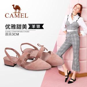Camel/骆驼女鞋 2018春季新款 蝴蝶结浅口低跟鞋女甜美简约套脚粗跟单鞋