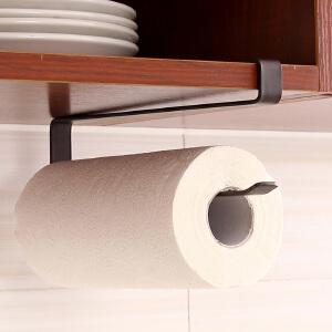 【满减】ORZ 日式扁铁单钩厨房纸巾架 创意免钉柜顶悬挂式毛巾架保鲜纸锡纸收纳