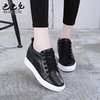 秋季内增高小白鞋女春季2018新款百搭韩版坡跟厚底女士休闲鞋