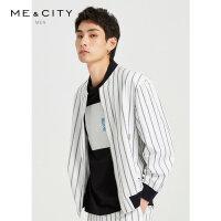 【1件3折到手价:188.7,4月10日0点】MECITY男装夏季新款时尚条纹夹克男士潮流休闲外套男