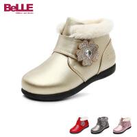 百丽Belle童鞋17冬款小皮鞋儿童皮靴女童公主小短靴休闲时装靴 (5-9岁可选)  DE0474