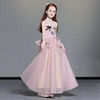 儿童礼服走秀公主裙女粉色婚纱中大童钢琴演出服女童表演晚礼服冬