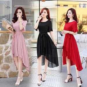 雪纺连衣裙夏装2018新款女韩版收腰气质显瘦短袖不规则飘逸裙子潮