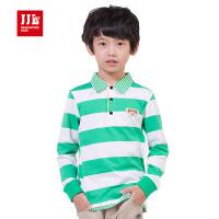 季季乐童装春秋款男童纯棉长袖T恤翻领条纹POLO衫BCT53001