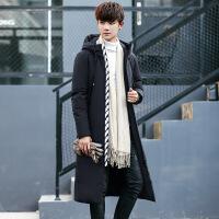 冬季男士长款羽绒服男加厚过膝修身款超长羽绒大衣男款外套潮 黑色 图片色
