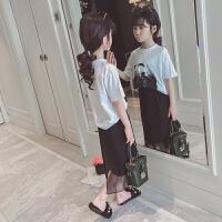 女童套装夏装儿童夏季时髦两件套韩版洋气中大童阔腿裤女