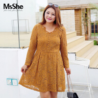 MsShe大码女装2017新款200斤秋装高腰显瘦V领蕾丝连衣裙M1730378