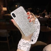 新款iPhonex手机壳钻6s硅胶挂绳苹果7plus全包防摔8个性潮女xsmax iPhone6/6s 4.7寸 白丝