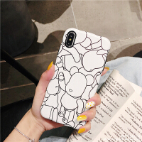 新款暴力熊iphonexsmax手机壳潮牌情侣苹果6s/7/8plus全包软套XR XR 白底线条暴力熊