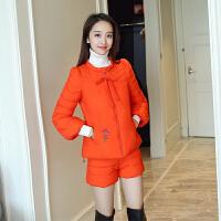 2018冬季套装棉衣女韩版修身加厚短款绣花时尚羽绒两件套棉袄