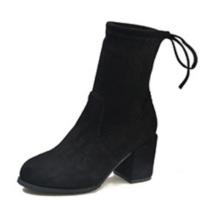 2018新款马丁靴子女短靴秋冬季英伦风粗跟骑士靴高跟切尔西袜靴女真皮
