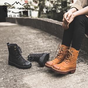 玛菲玛图 平底靴子女新款牛皮马丁靴秋季短靴中跟松糕底帅气系带机车靴T6-10